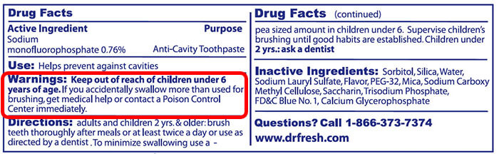 Color Labels on Toothpaste Toothpaste Label Warning