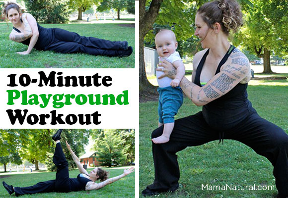 Do this 10 minute playground workout every other day and you'll see results in no time. The best part is you can do it anywhere and still watch the kiddos!