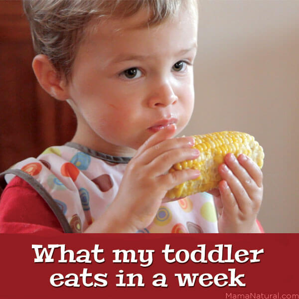 "Photo of a toddler eating an ear of corn with the text over it that reads, ""What my toddler eats in a week."""