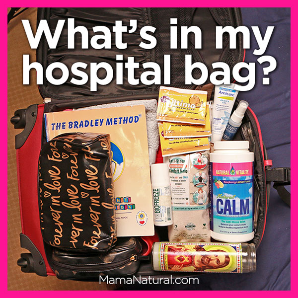 What's in Mama Natural's #hospitalbag - an abundance of natural birthing aids.