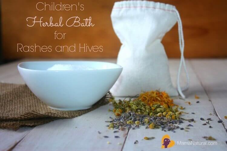 Children's Herbal bath for rashes and hives photo of ingredients