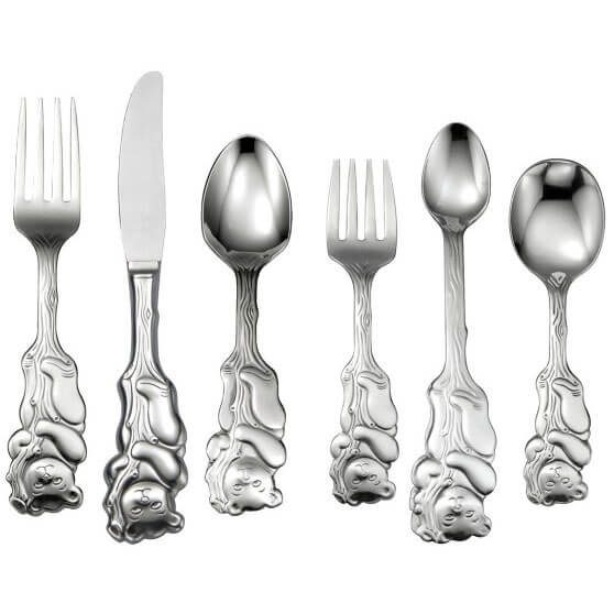 Oneida Gifts Cubby Bear Child & Baby Flatware 6 Piece Progress Set