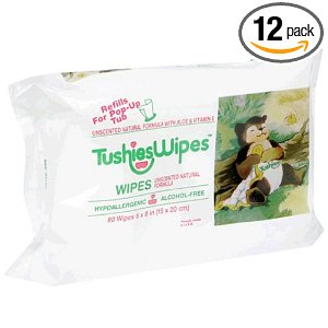 Tushies Wipes Refills, Unscented Natural Formula with Aloe, 80 Wipe Refill Packs (Pack of 12)