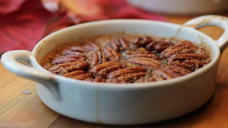 Grain-free pecan pie? Yup. This gluten free dessert recipe makes 4 individual crustless pies packed with real food and nourishing ingredients. Delicious!