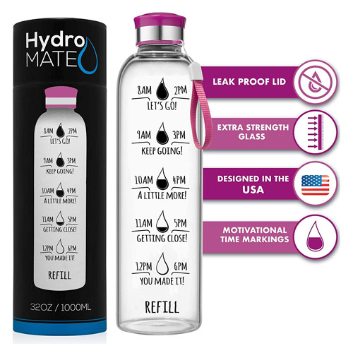 HydroMATE 32 Oz Motivational Glass Water Bottle with Time Marker