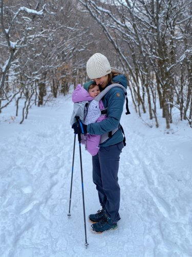 Kimberley Johnson and Daughter Cross Country Skiing