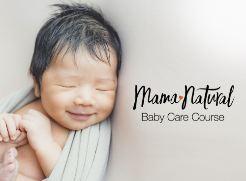 Mama Natural Baby Care Course parents-to-be class image with logo