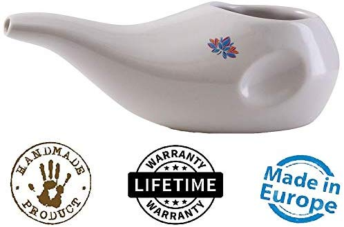Sattvic Path BEST Rated Ceramic Neti Pot – Ergonomic Design and Hand made, Dusk Red