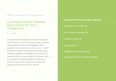Lamaze Birth Course Screenshot of Homepage