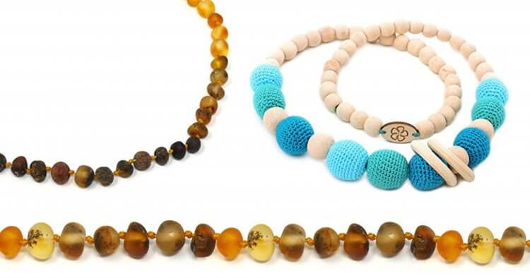 So you're desperate to give your teething baby some relief? Which teething necklaces are best-- amber teething necklaces or ones that moms wear? Here we'll discuss the pros/cons of each variety of teething necklaces to determine which are safest and most effective.