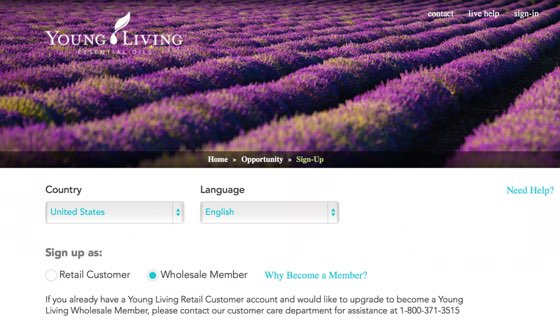 YL signup page screenshot